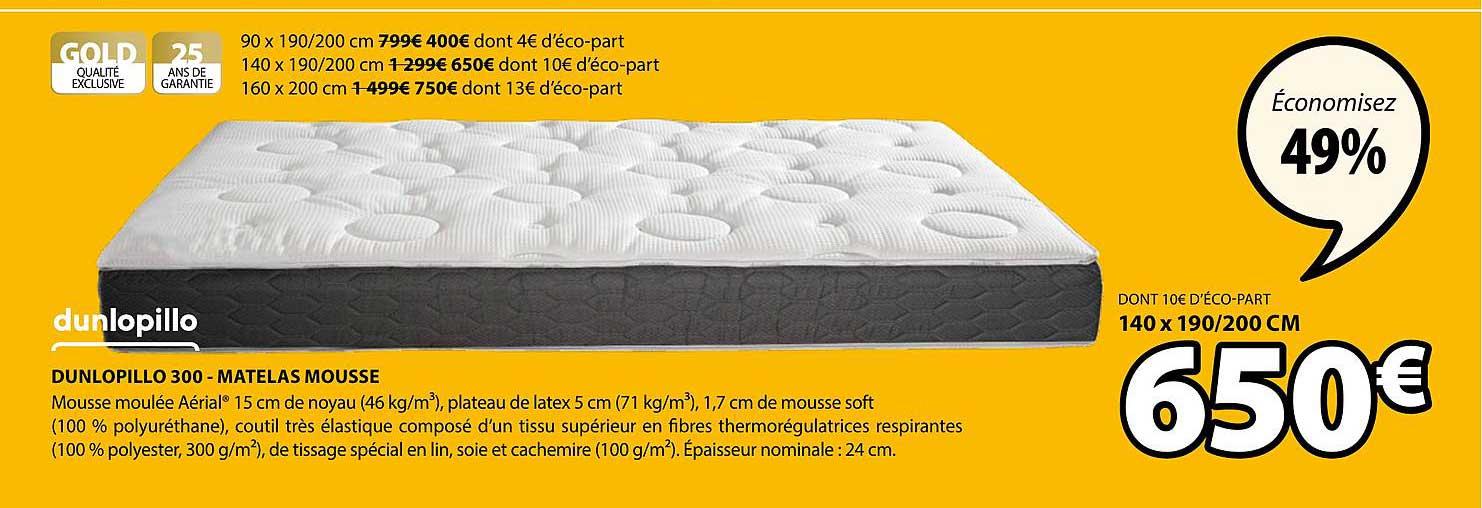 JYSK Dunlopillo 300 Matelas Mousse