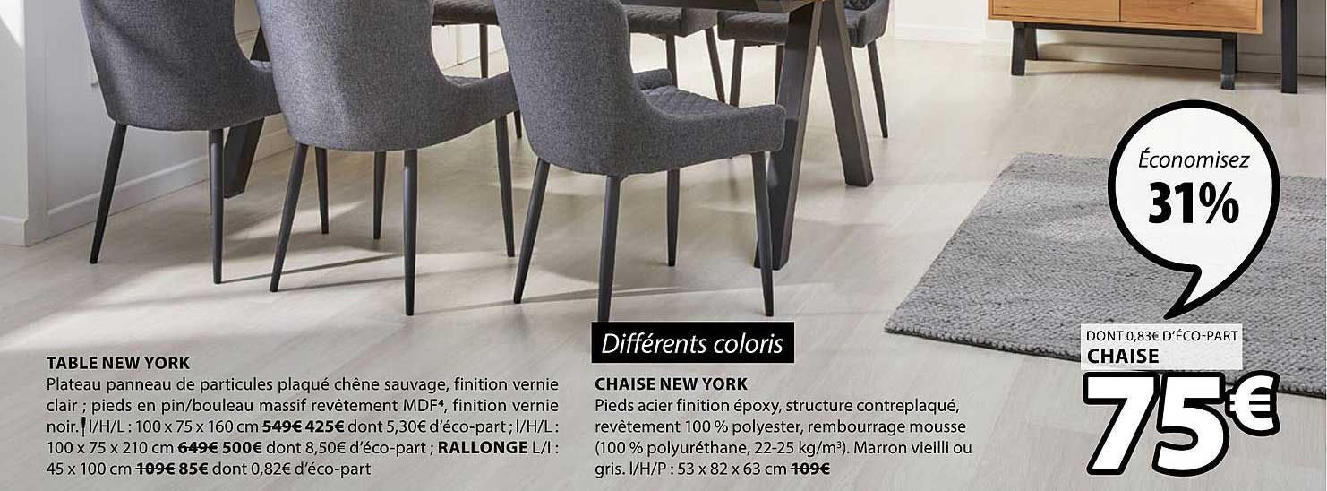 Offre Table New York Chaise New York Chez Jysk