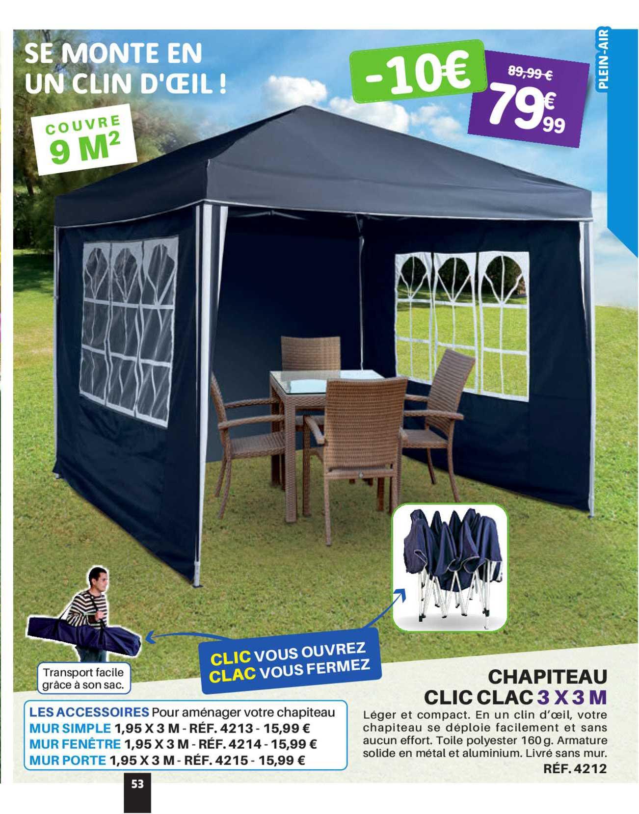 Shopix Chapiteau Clic Clac 3 X 3 M