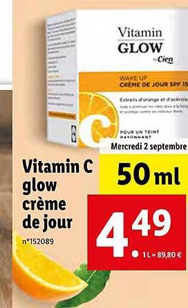 Lidl Vitamin C Glow Crème De Jour Cien