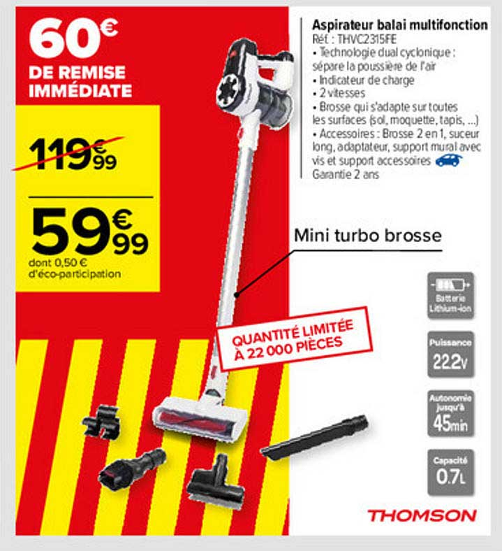 Carrefour Aspirateur Balai Multifonction Thomson
