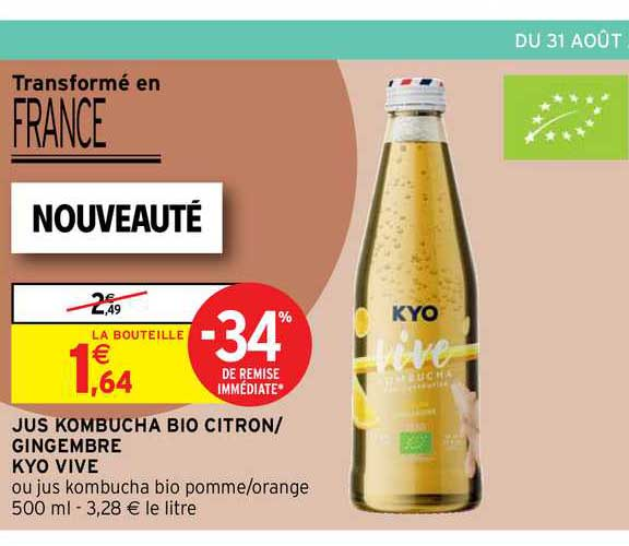 Intermarché Contact Jus Kombucha Bio Citron-gingembre Kyo Vive
