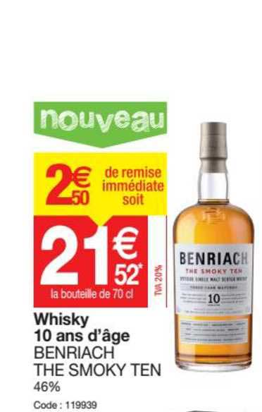 Promocash Whisky 10 Ans D'âge Benriach The Smoky Ten