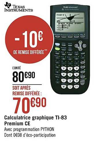 Géant Casino Calculatrice Graphique Ti 83 Premium Ce Texas Instruments