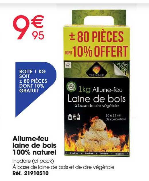 Brico Pro Allume-feu Laine De Bois 100% Naturel