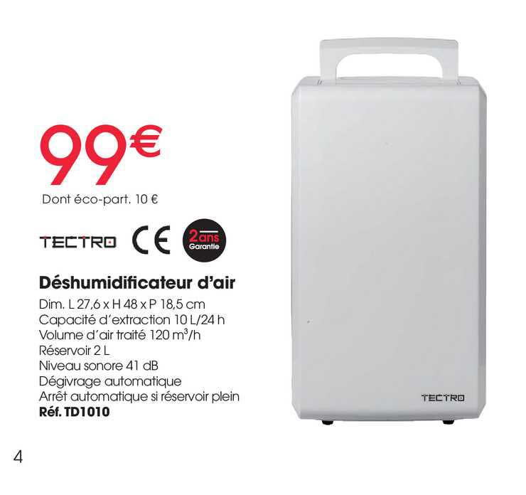 Brico Pro Déshumidificateur D'air Tectro