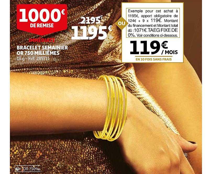 Auchan Bracelet Semainier Or 750 Millièmes