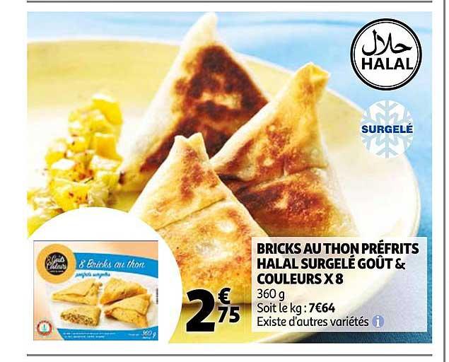 Auchan Bricks Au Thon Préfrits Halal Surgelé Goût & Couleurs X8