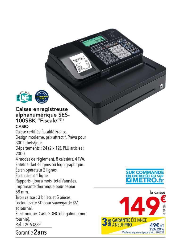 METRO Caisse Enregistreuse Alphanumérique Ses-100sbk