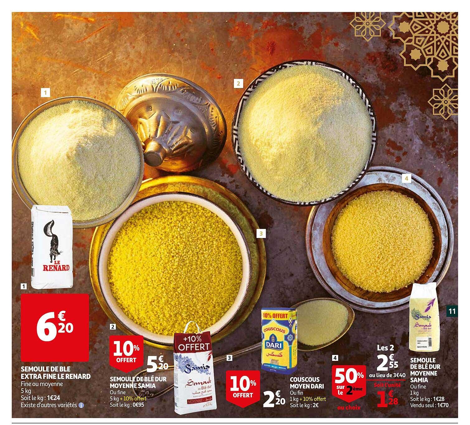 Auchan Semoule De Blé Extra Fine Le Renard, Semoule De Blé Dur Moyenne Samia, Couscous Moyen Dari, Semoule De Blé Dur Moyenne Samia