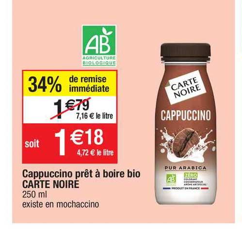 Migros France Cappuccino Prêt à Boire Bio Carte Noire