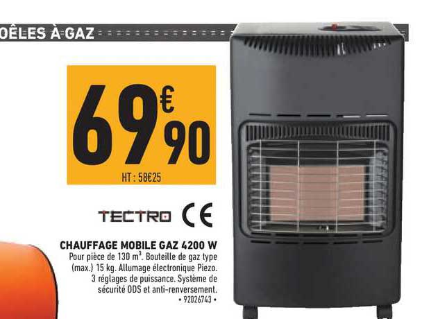 offre chauffage mobile gaz 4200 w tectro chez brico cash