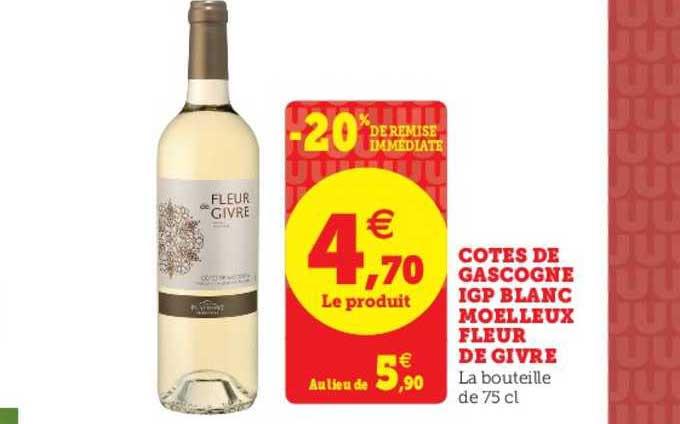 U Express Côtes De Gascogne Igp Blanc Moelleux Fleur De Givre -20% De Remise Immédiate