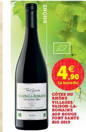 U Express Côtes Du Rhône Villages Vaison La Romaine Aop Rouge Font Sante Bio 2019