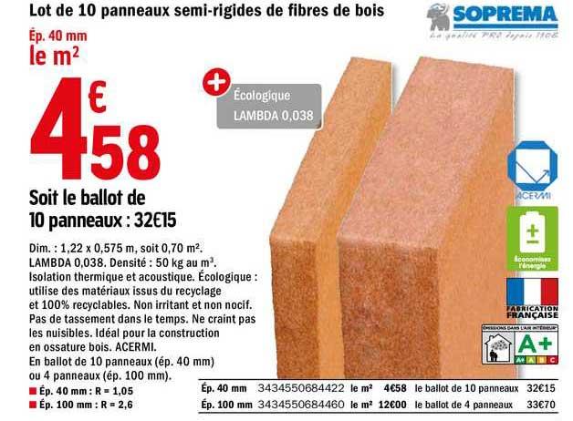 Offre Lot De 10 Panneaux Semi Rigides De Fibres De Bois Soprema Chez Brico Depot