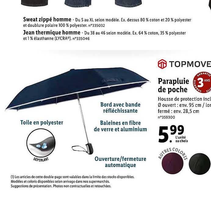 Offre Parapluie De Poche Chez Lidl