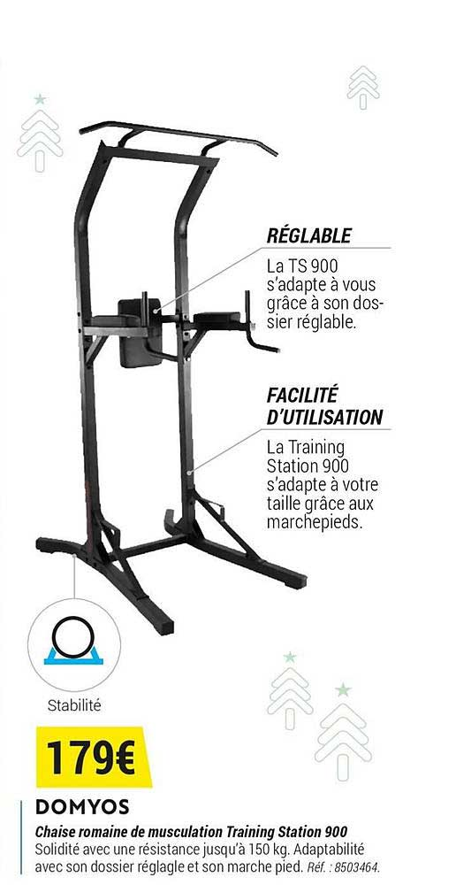 Offre Domyos Chaise Romaine De Musculation Training Station 900 Chez Decathlon