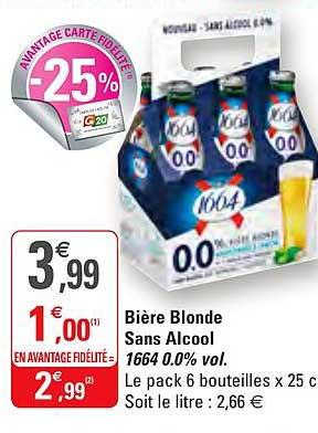 G20 Bière Blonde Sans Alcool 1664 0.0% Vol.