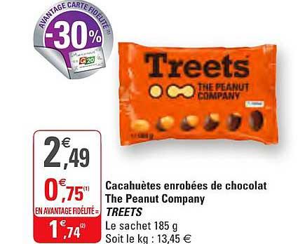 G20 Cacahuètes Enrobées De Chocolat The Peanut Company Treets