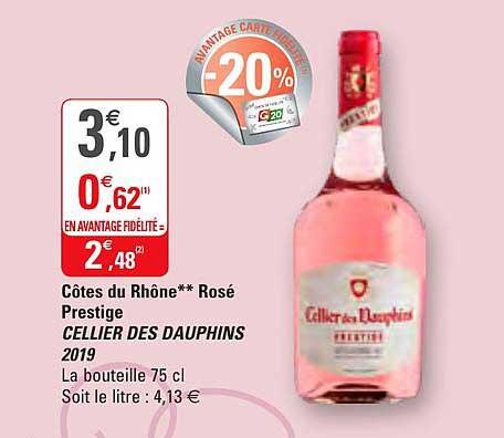 G20 Côtes Du Rhône Rosé Prestige Cellier Des Dauphins 2019