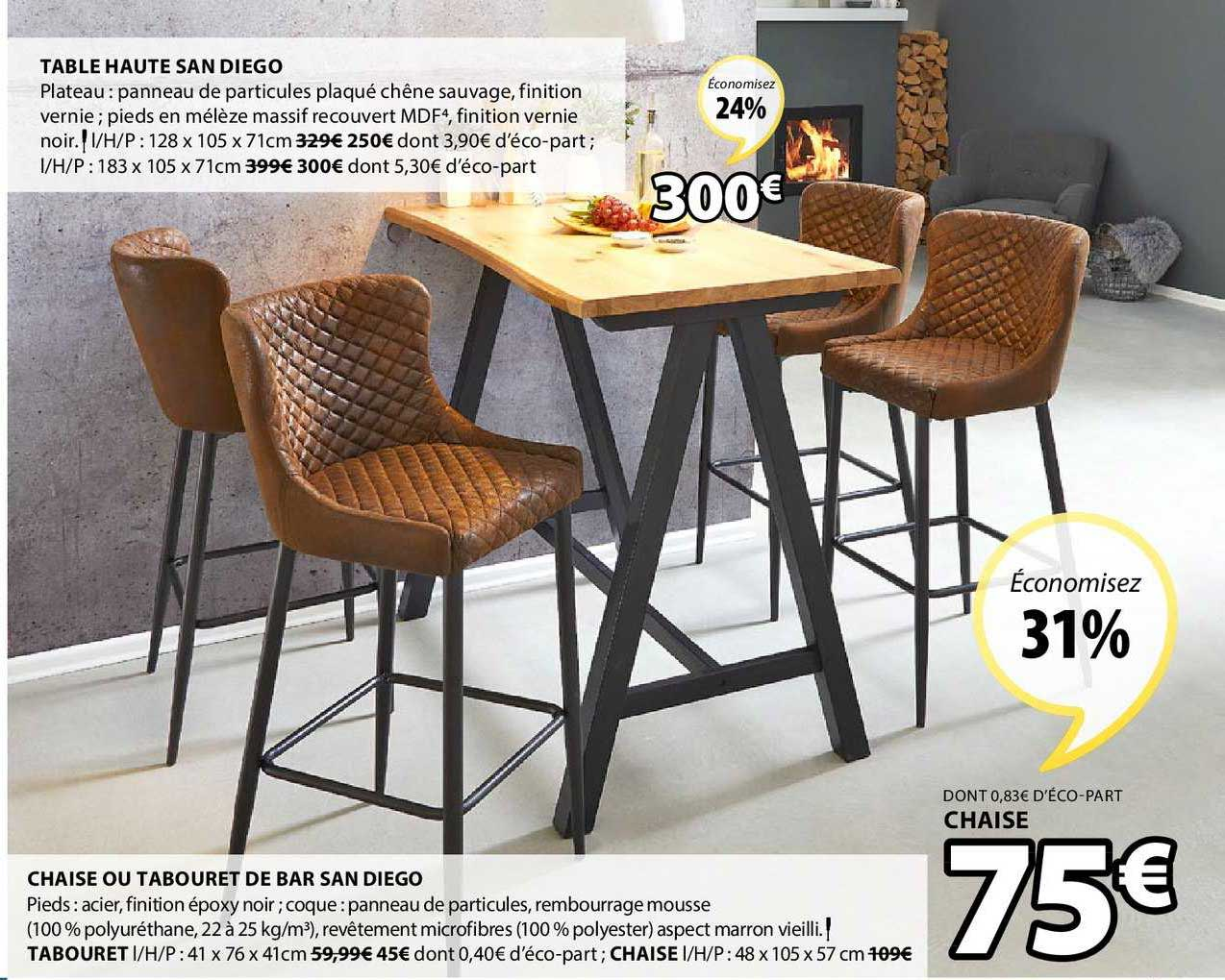 offre table haute san diego chaise ou