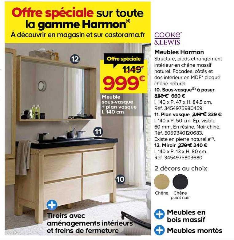 Offre Meubles Harmon Sous Vasque Plan Vasque 140 Cm Cooke Lewis Chez Castorama