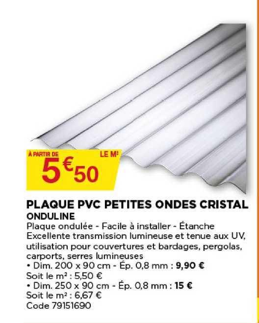 Offre Plaque Pvc Petites Ondes Cristal Onduline Chez Bricomarche
