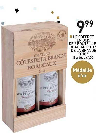 Stokomani Coffret En Bois De 2 Bouteilles Château Côtes De La Brande 2018 Bordeaux Aoc