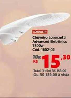 Lojas Becker Chuveiro Lorenzetti Advanced Electrônico 7500w