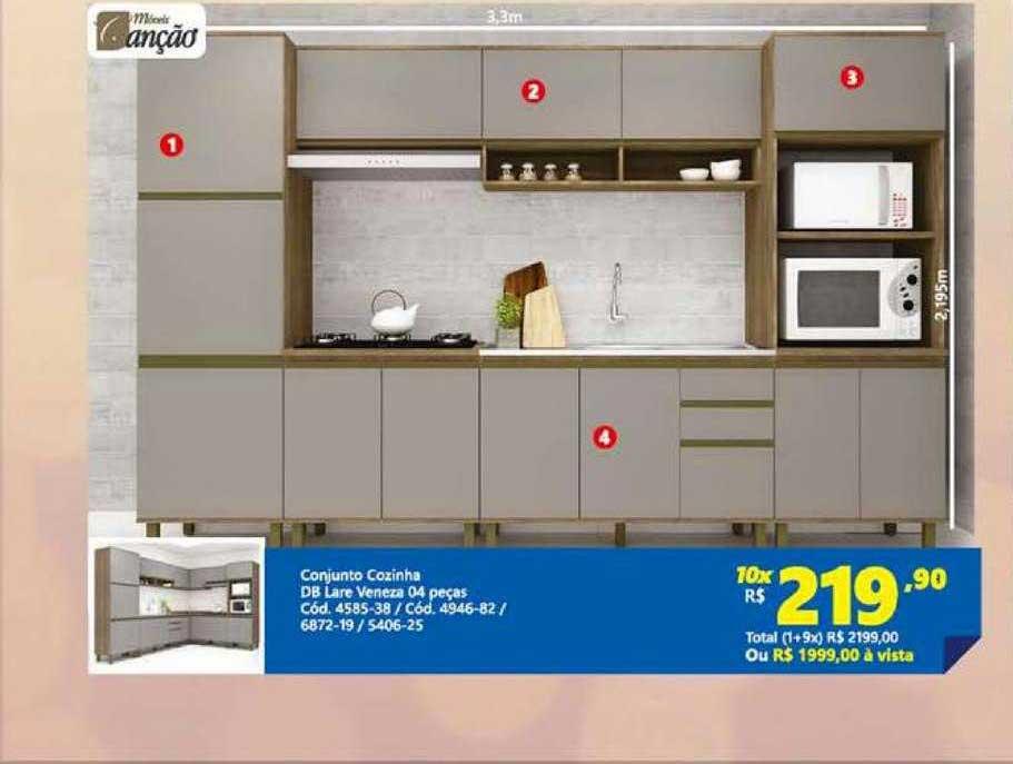 Lojas Becker Conjunto Cozinha Db Lare Veneza 04 Peças