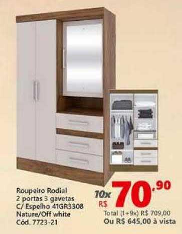 Lojas Becker Roupeiro Rodial 2 Portas 3 Gavetas C Espelho 41gr3308 Ntaure Off White