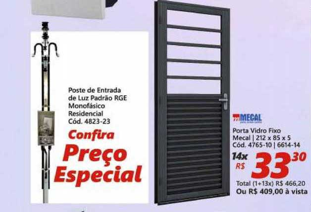Lojas Becker Poste De Entrada De Luz Padrão Rge Monofásico Residencial Porta Vidro Fixo Mecal