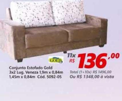 Lojas Becker Conjunto Estofado Gold 3x2 Lug. Veneza