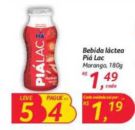 Hipermercado Big Bebida Láctea Piá Lac Morango Leve 5 Pague 4 180g