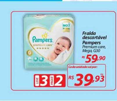 Mercadorama Fralda Descartável Pampers Premium Care Mega Leve 3 Pague 2