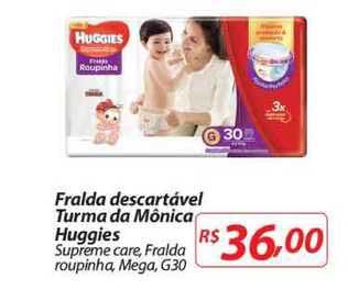 Mercadorama Fralda Descartável Turma Da Mônica Huggies Supreme Care Fralda Roupinha Mega G30