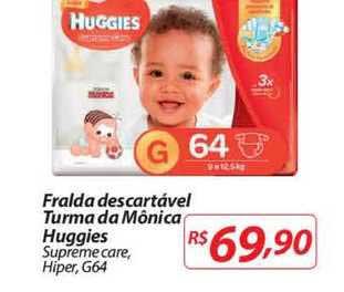Mercadorama Fralda Descartável Turma Da Mônica Huggies Supreme Care Hiper