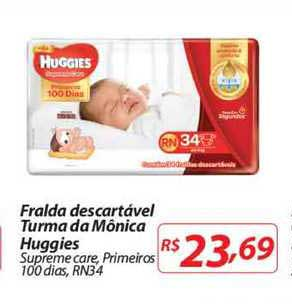 Mercadorama Fralda Descartável Turma Da Mônica Huggies Supreme Care Primeiros Rn34