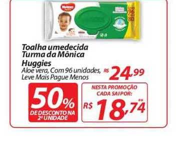 Mercadorama Toalha Umedecida Turma Da Mônica Huggies Aloe Vera 50% Desconto Na 2a Unidade