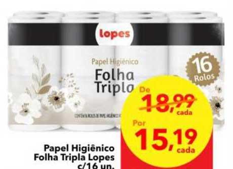 Lopes Supermercados Papel Higiênico Folha Tripla Lopes