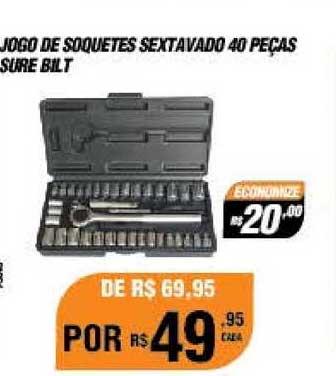 AutoZone Jogo De Soquetes Sextavado 40 Peças Sure Bilt