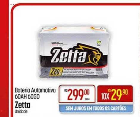 Super Muffato Bateria Automotiva 60ah 60gd Zetta