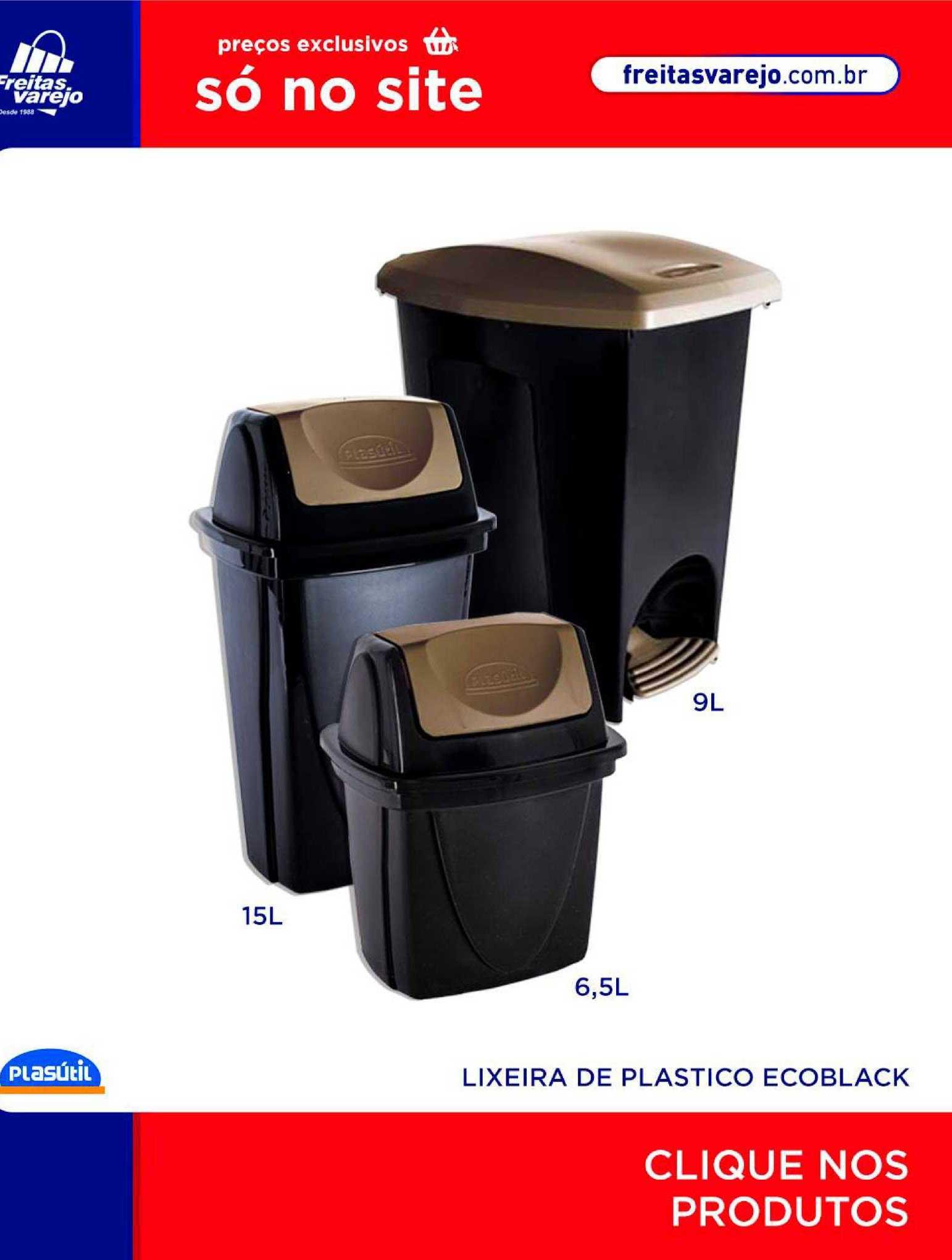 Freitas Varejo Lixeira De Plastico Ecoblack