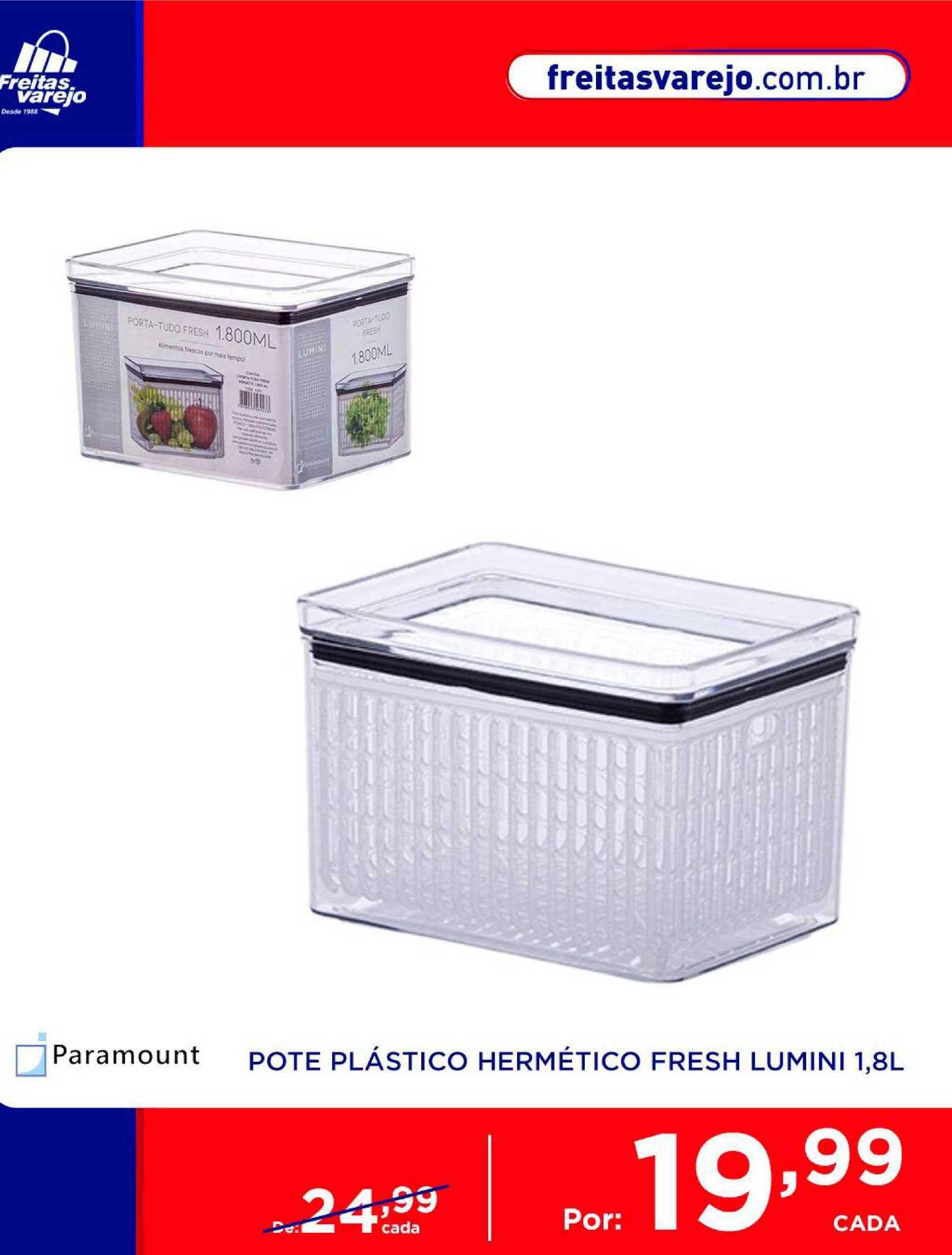 Freitas Varejo Pote Plástico Hermético Fresh Lumini
