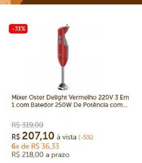 Girafa Mixer Oster Delight Vermelho 220v 3 Em 1 Com Batedor 250w De Potência