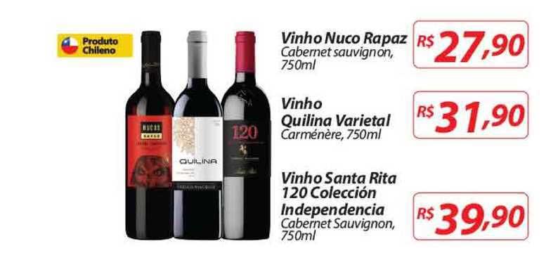 Nacional Vinho Nuco Rapaz Cabernet Sauvignon Vinho Quilina Varietal Carménère Vinho Santa Rita 120 Colecció Independencia Cabernet Sauvignon