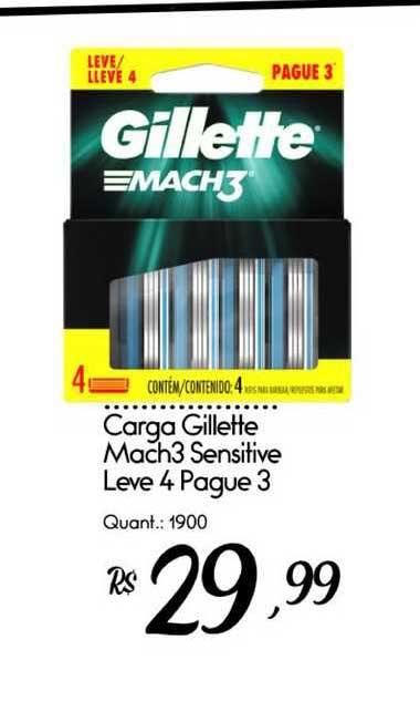 Giassi Supermercados Carga Gillette Mach3 Sensitive Leve 4 Pague 3