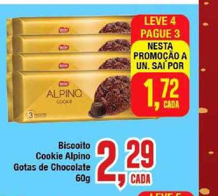 Rede Economia Leve 4 Pague 3 Biscoito Cookie Alpino Gotas De Chocolate