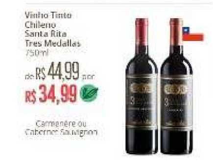 Natural Da Terra Vinho Tinto Chileno Santa Rita Tres Medallas