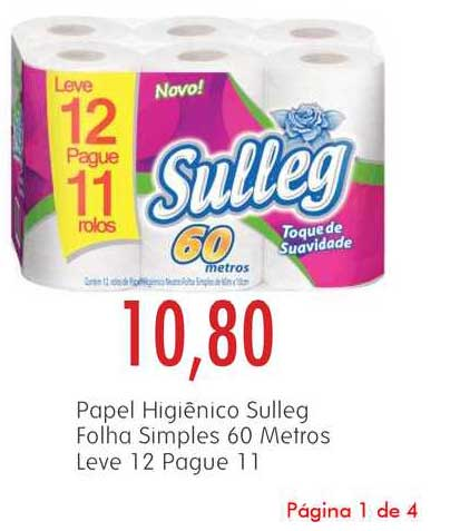 Epa Papel Higiênico Sulleg Folha Simples 60 Metros Leve 12 Pague 11